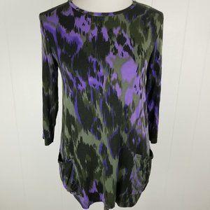 LOGO Lori Goldstein Purple Gray Tunic Watercolor
